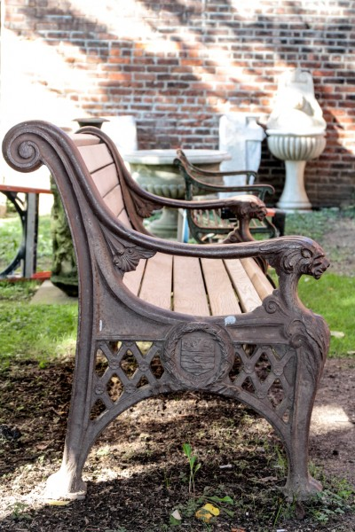 Cast Iron Bench with Lion Head Arms 2