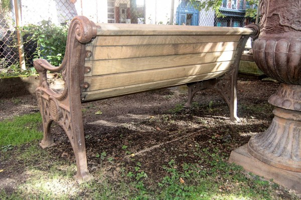 Cast Iron Bench with Lion Head Arms 3