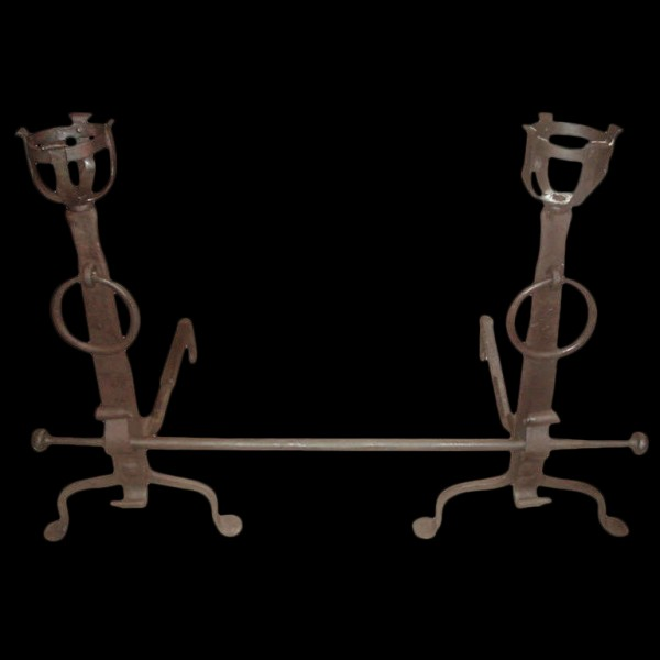 19th C hand forged Andirons 2