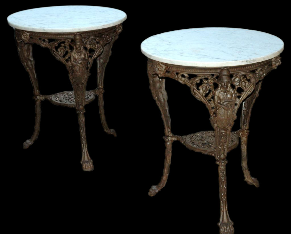 French Cast Iron Marble Garden Tables