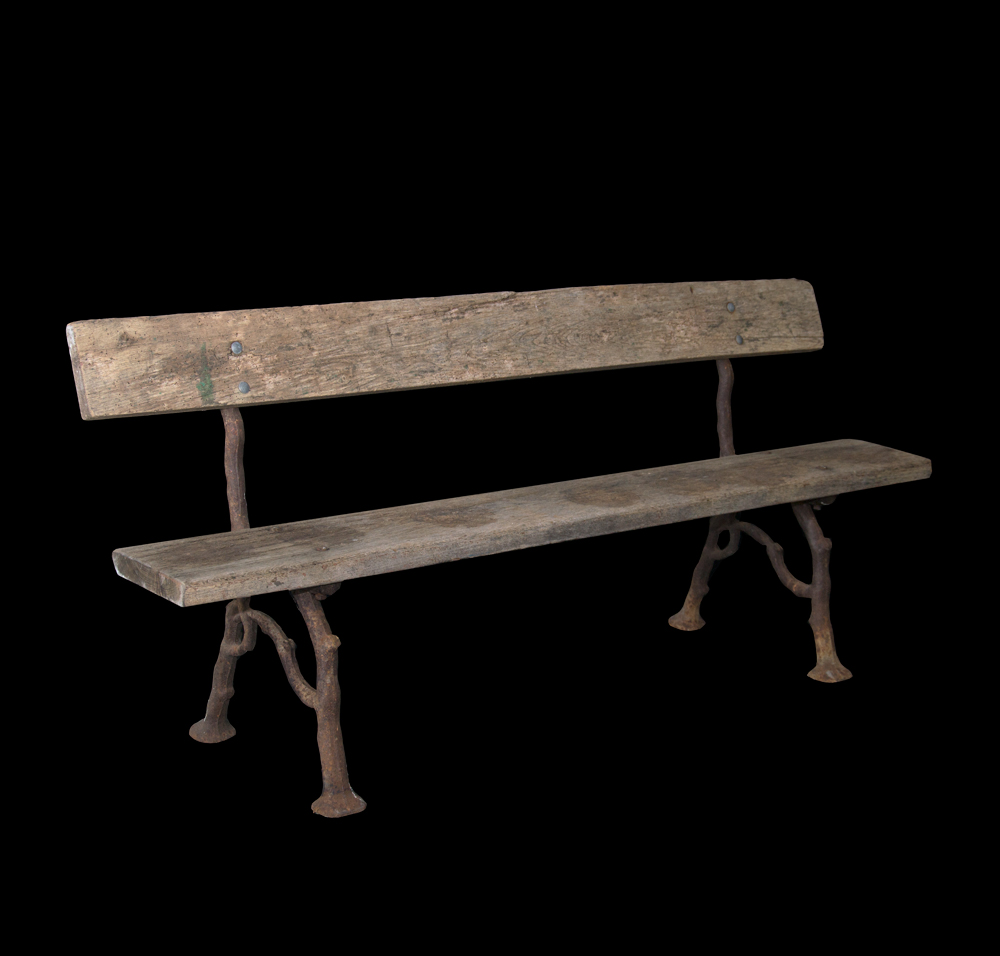 Antique Garden Bench With Faux Bois Cast Iron Legs